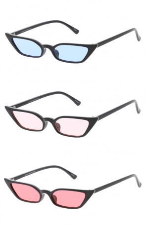 Retro Womens Thin Color Lens Cat Eye Wholesale Sunglasses