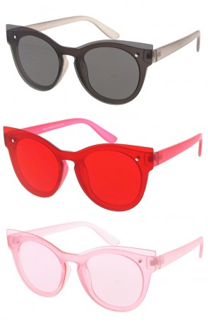 Color One Piece Lens Horned Rimmed Wholesale Sunglasses