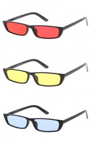 Retro Colorful Slim Flat Tope Narrow 1990'S Wholesale Sunglasses