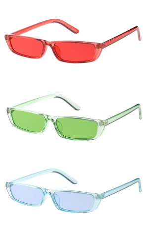 Retro Colorful Slim Flat Tope Narrow 1990'S Wholesale Sunglasses