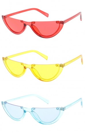 Flat Top Half Frame Color Lens Wholesale Sunglasses