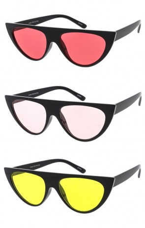 Chucky Flat Top Cat Eye Color Lens Womens Wholesale Sunglasses