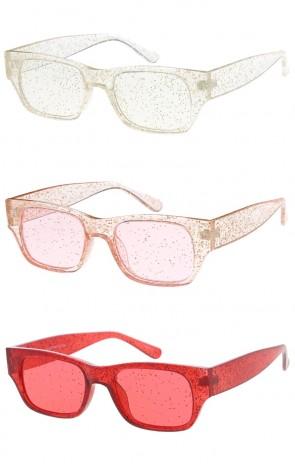 Womens Color Frame Glitter Horn Rimmed Wholesale Sunglasses