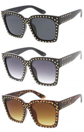 Large Retro Horn Rimmed Square Studded Wholesale Sunglasses