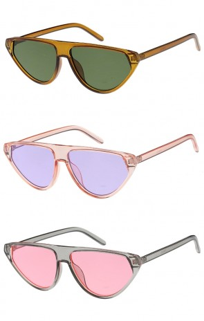 Womens Flat Top Cat Eye Color Lens Wholesale Sunglasses
