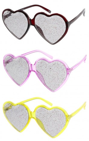Women's Oversize Translucent Glitter Heart Smoke Lens Wholesale Sunglasses