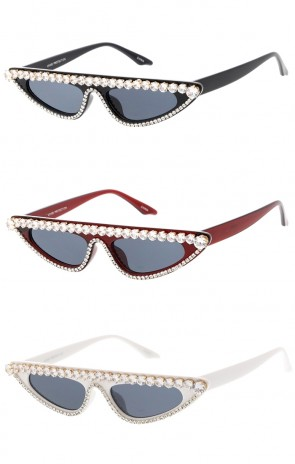 Thin Flat Top Cat Eye Rhinestone Frame Womens Wholesale Sunglasses