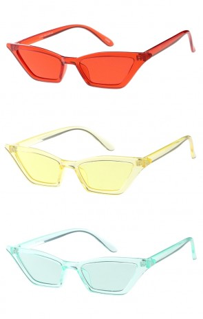Thin One Color Lens and Frame Cat Eye Womens Wholesale Sunglasses