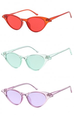 Womens Vintage Style One Color Frame and Lens Cat Eye Wholesale Sunglasses