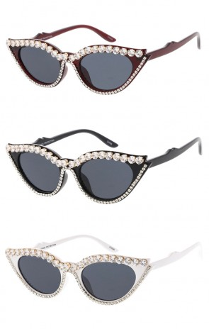 Womens Retro Cat Eye Rhinestone Wholesale Sunglasses