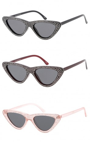 Women's Rhinestone Cat Eye Sunglasses Neutral Colored Lens Wholesale Sunglasses