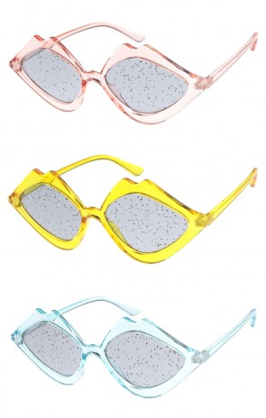 Women's Translucent Lips Glitter Lens Wholesale Sunglasses