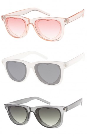 Thick Horn Rimmed Heart Cutout Lens Womens Wholesale Sunglasses