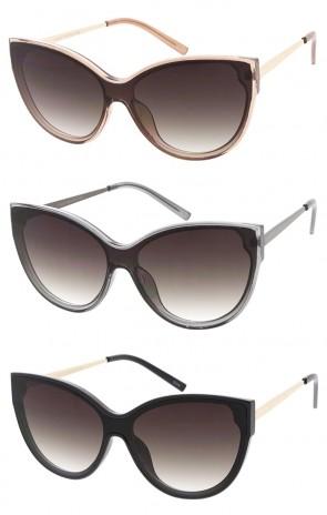 Women's Cat Eye Gradient Shield Lens Wholesale Sunglasses