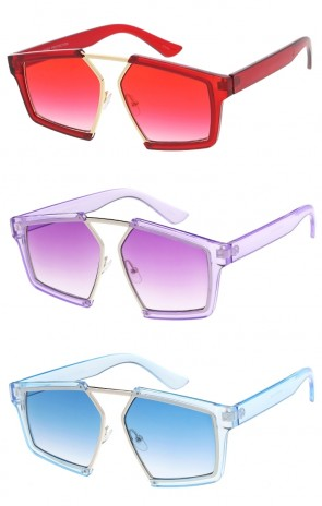Translucent Oversize Horn Rimmed Square Color Tinted Lens Wholesale Sunglasses