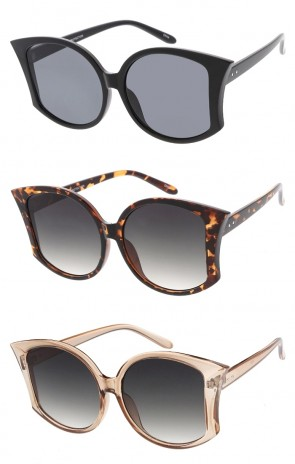 Oversize Pointed Cat Eye Neutral Colored Lens Wholesale Sunglasses
