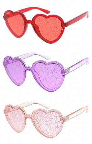Translucent Glitter Heart Frame Color Tinted Lens Wholesale Sunglasses