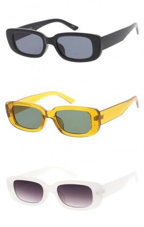 Retro Thick Rectangle Frame Neutral Colored Lens Wholesale Sunglasses