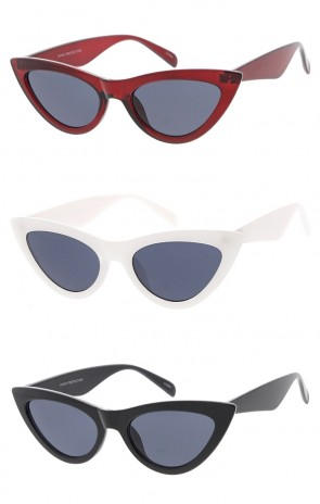 Women's Pointed Cat Eye Smoke Lens Wholesale Sunglasses