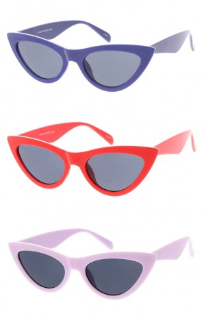 Women's Colored Pointed Cat Eye Smoke Lens Wholesale Sunglasses