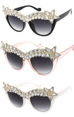 Women's Rhinestone Crystal Cat Eye Gradient Lens Wholesale Sunglasses