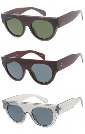 Womens Flat Top Semi Round Horn Rimmed Wholesale Sunglasses