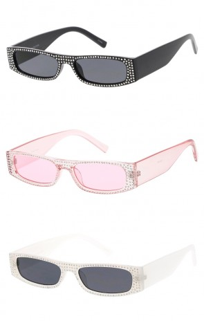 Rhinestone Rectangle Frame Neutral Colored Lens Wholesale Sunglasses