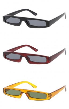 Futuristic Small Rectangle Neutral Colored Lens Wholesale Sunglasses