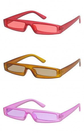 Futuristic Small Matte Rectangle Color Tinted Lens Wholesale Sunglasses