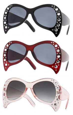 Rhinestone Oversize Wide Arm Neutral Colored Lens Wholesale Sunglasses