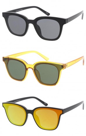 Unisex Square Horn Rimmed Flat Lens Wholesale Sunglasses