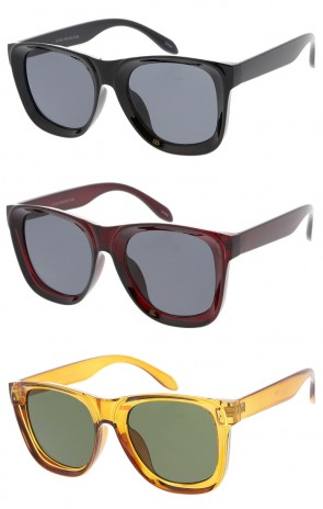 Oversize Horn Rimmed Neutral Colored Square Lens Wholesale Sunglasses