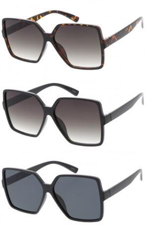 Oversize Square Neutral Colored Flat Lens Wholesale Sunglasses