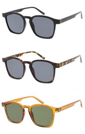 Unisex Square Horn Rimmed Neutral Colored Flat Lens Wholesale Sunglasses