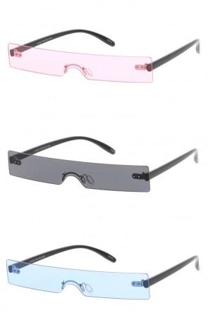 Futuristic Rimless Rectangle Color Tinted Shield Lens Wholesale Sunglasses