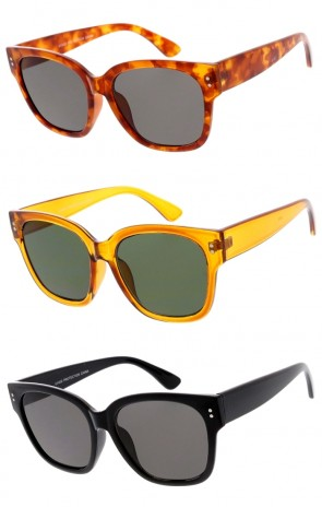 Women's Oversize Horn Rimmed Square Lens Wide Arm Wholesale Sunglasses