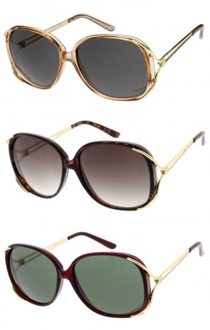 Women's Oversize Round Metal Arms And Trim Wholesale Sunglasses