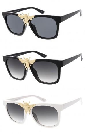 Women's Fashion Plastic Frame Bee Emblem Wholesale Sunglasses