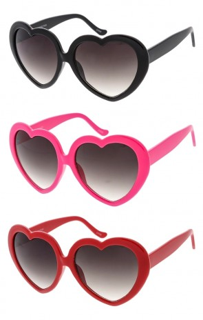 Playful Plastic Heart Frame Womens Wholesale Sunglasses