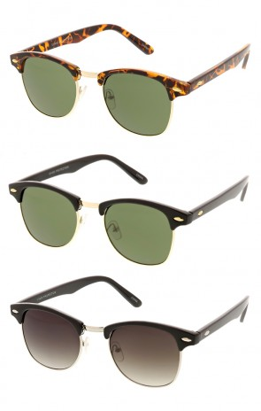Indie Horned Rim Half Frame Wholesale Sunglasses