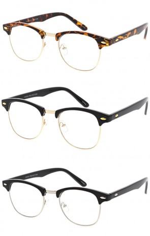 e8c0c9279ba Vintage Half Frame Clear Lens Horn Rimmed Wholesale Sunglasses