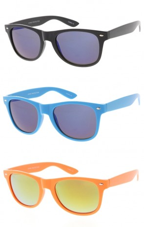 Retro Horned Rime Sunglasses With Flash Mirror Wholesale Lenses