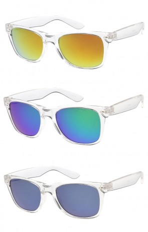 Retro Horned Rim Frame Mirrored Lens Wholesale Sunglasses