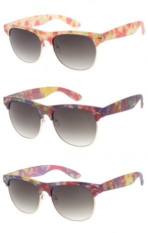 Women's Colorful Flower Print Fashion Horned Rim Wholesale Sunglasses