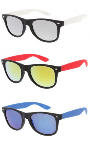 Retro Horned Rime Sunglasses With Flash Mirror Lenses Wholesale Sunglasses