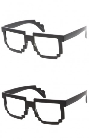 8 Bit Pixel Clear Lens Novelty Wholesale Glasses