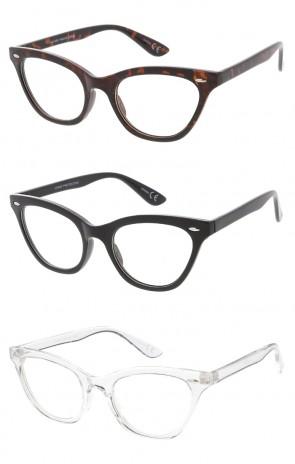Small Clear Lens Cat Eye Horn Rimmed Wholesale Glasses