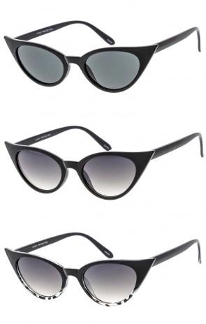 Women's Small Oval Cat Eye Plastic Frame Wholesale Sunglasses