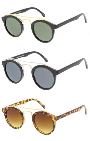 Retro Dapper Cross Round Aviator Wholesale Sunglasses