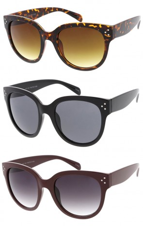 Trendy Fashion Retro Studded Horned Rim Wholesale Sunglasses